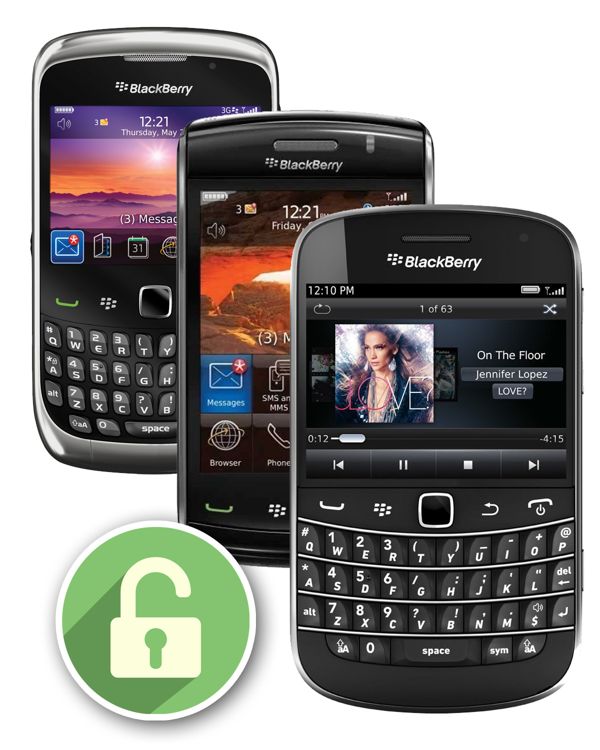 Blackberry Bold, Curve, Touch Unlock